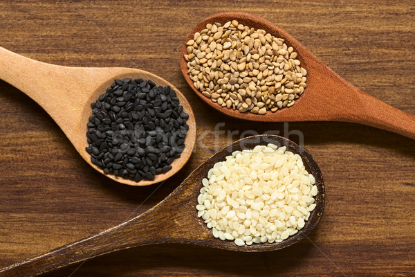 Black, White and Roasted Sesame Seeds Stock photo © ildi