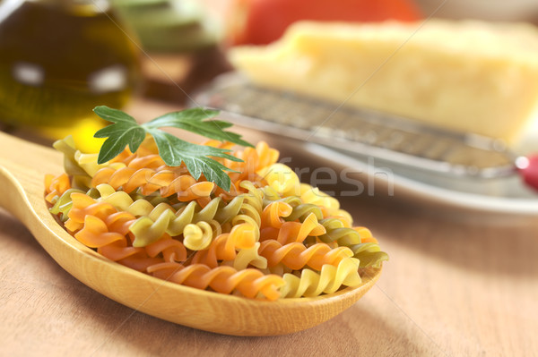 Colorful Raw Fusilli Pasta  Stock photo © ildi