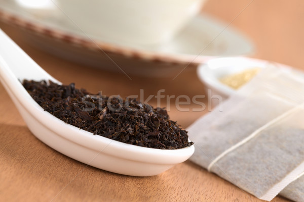 Dried Black Tea with Tea Bags Stock photo © ildi