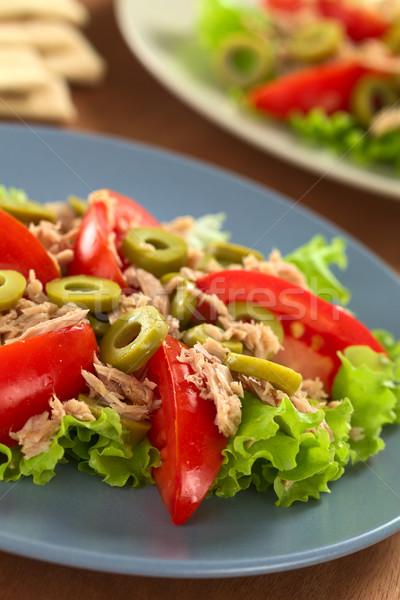 тунца томатный оливкового Салат свежие зеленый Сток-фото © ildi