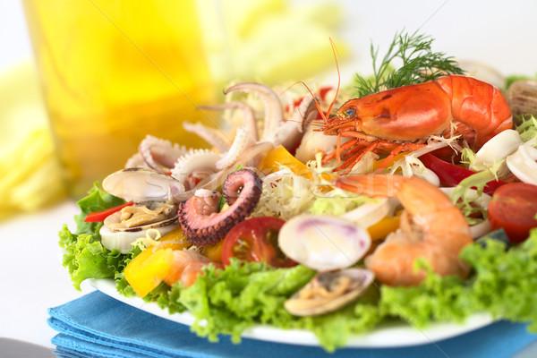 Frutos do mar salada camarão polvo anéis Foto stock © ildi