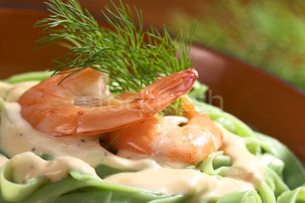 Green Tagliatelle with Shrimp Stock photo © ildi
