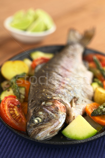 Baked Trout and Vegetables Stock photo © ildi