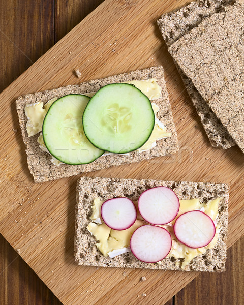 Stock photo: Wholemeal Rye Crispbread with Brie, Radish and Cucumber