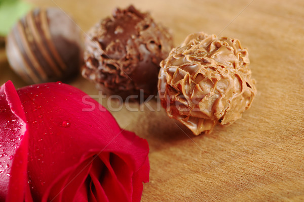 Truffles with a Red Rose Stock photo © ildi