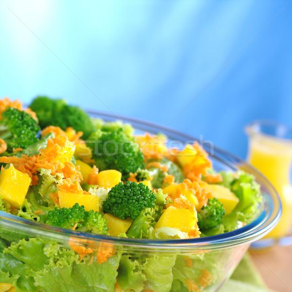 Salade glas kom sinaasappelsap dressing selectieve aandacht Stockfoto © ildi