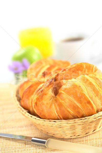 Fresh Croissants in Bread Basket Stock photo © ildi