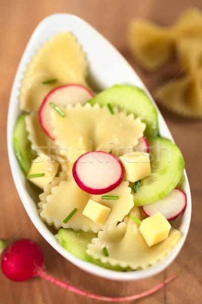 Stock photo: Bow Tie Pasta Salad with Cucumber and Radish