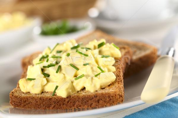 Huevo ensalada cebollino brindis pan atención selectiva Foto stock © ildi
