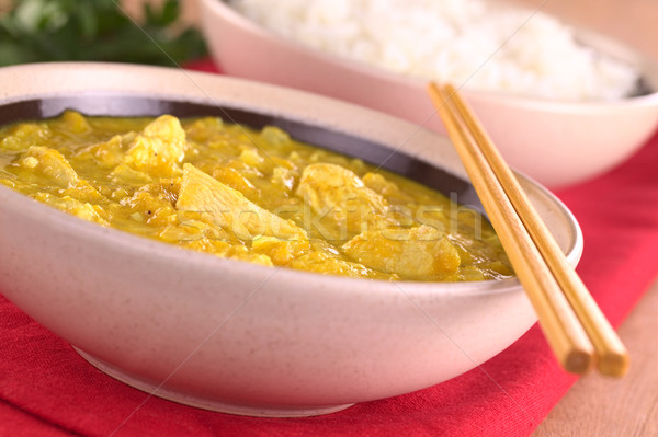 Caril indiano prato tigela arroz de volta Foto stock © ildi