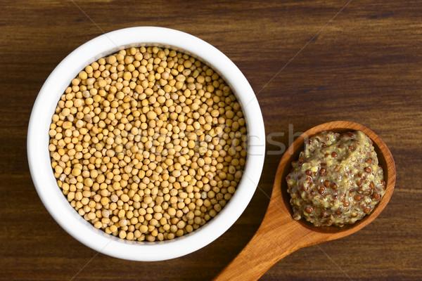 Yellow Mustard Seeds and Whole Grain Mustard Stock photo © ildi