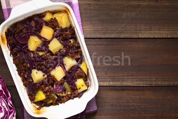 Baked Red Cabbage, Mincemeat and Potato Casserole Stock photo © ildi