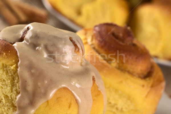 Pumpkin Cinnamon Roll with Cinnamon Icing Stock photo © ildi
