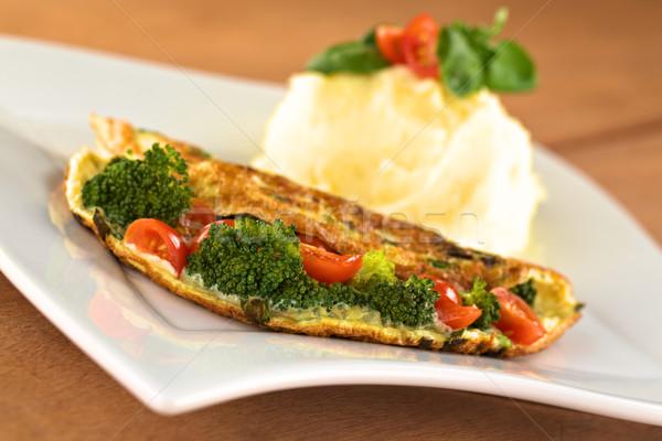 Broccoli and Tomato Omelette Stock photo © ildi