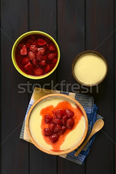 Semolina Pudding with Strawberries Stock photo © ildi