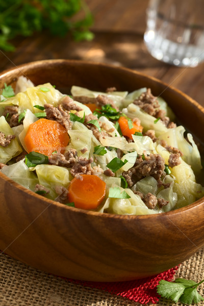Savoy Cabbage, Carrot, Potato, Mincemeat Stew or Soup Stock photo © ildi