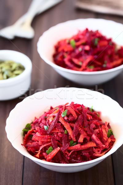Raw Grated Beetroot, Apple and Carrot Salad Stock photo © ildi