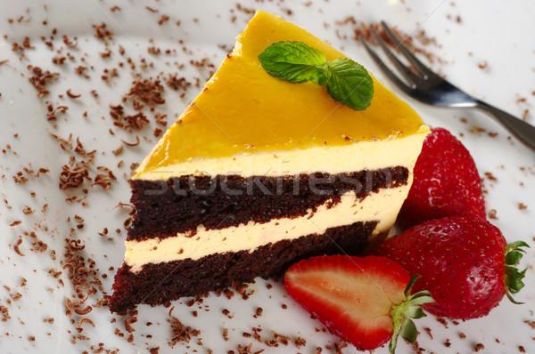 Lucuma Cake with Strawberries Stock photo © ildi