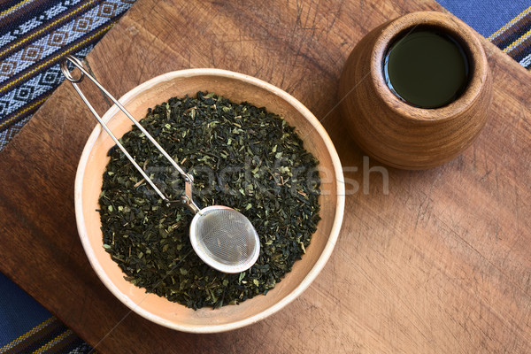 Dried Green Tea Leaves with Strainer Stock photo © ildi