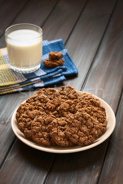 Stockfoto: Chocolade · cookies · plaat · glas · melk