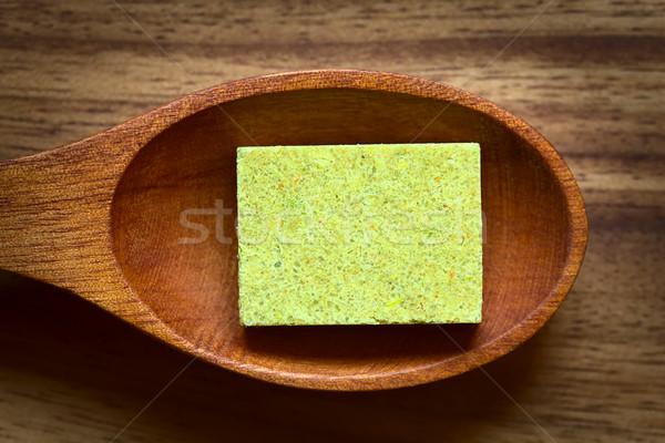 Zöldség stock húsleves kocka fakanál természetes fény Stock fotó © ildi