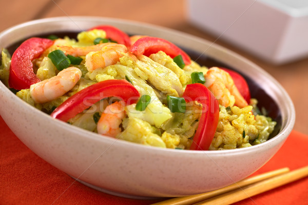 Rice Dish with Cabbage, Chicken and Shrimp Stock photo © ildi
