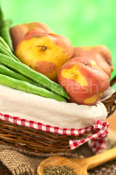 Green Beans and Potatoes in Basket Stock photo © ildi
