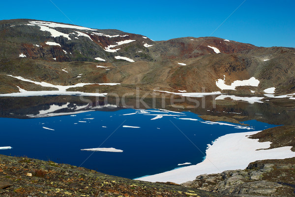 Tó terméketlen hegyek részben zárt északi Stock fotó © ildi
