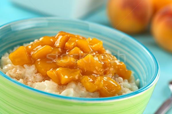 Rice Pudding with Peach Compote Stock photo © ildi