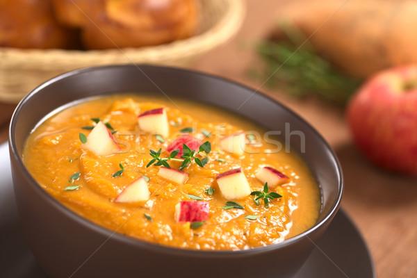 Patata dolce mela zuppa ciotola fresche fatto in casa Foto d'archivio © ildi