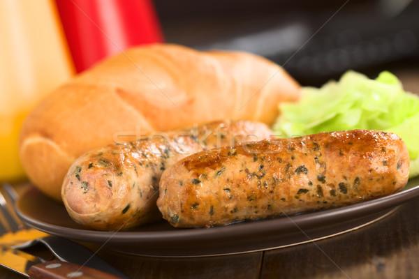 Fried Bratwurst with Bun  Stock photo © ildi