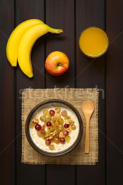 Oatmeal Porridge with Grapes and Walnuts Stock photo © ildi