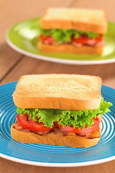 Blt sanduíche fresco caseiro bacon alface Foto stock © ildi