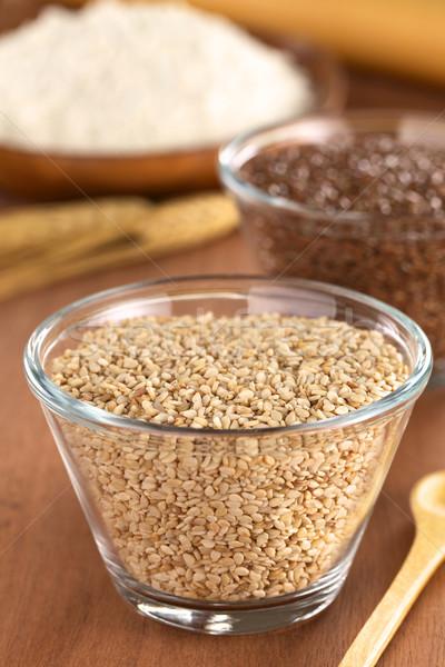 Vidro tigela sementes farinha de volta Foto stock © ildi