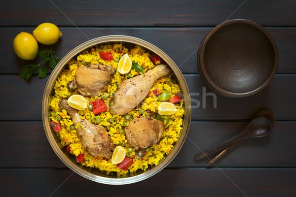 испанский куриные выстрел банка традиционный риса Сток-фото © ildi