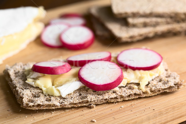 Stock photo: Wholemeal Rye Crispbread with Brie and Radish