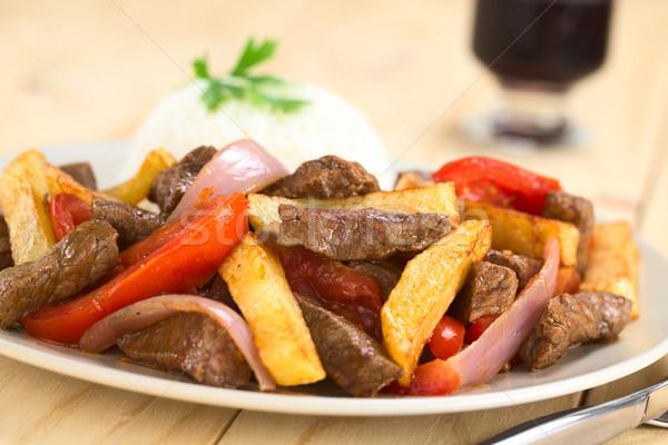 Peruvian Dish Called Lomo Saltado Stock photo © ildi