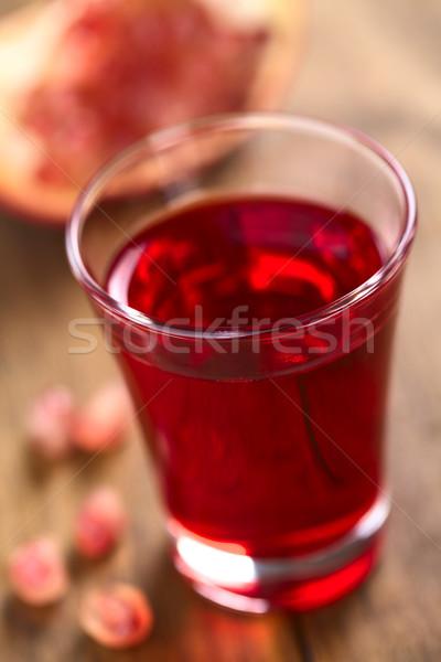 Szirup lövés üveg gránátalma magok oldal Stock fotó © ildi