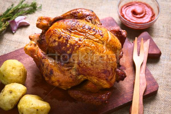 Pieczony kurczak ziemniaki ketchup naturalne światło selektywne focus Zdjęcia stock © ildi