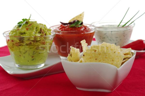 Tacos tigela três diferente molho creme Foto stock © ildi