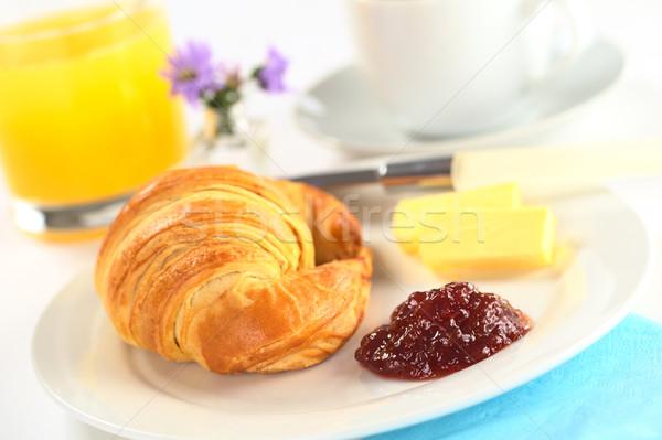 Континентальный завтрак круассан клубника Jam масло апельсиновый сок Сток-фото © ildi