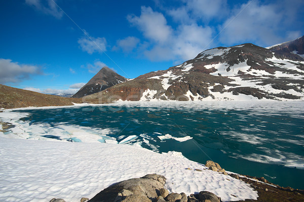 Lake Covered by Ice in Northern Norway in Summer Stock photo © ildi