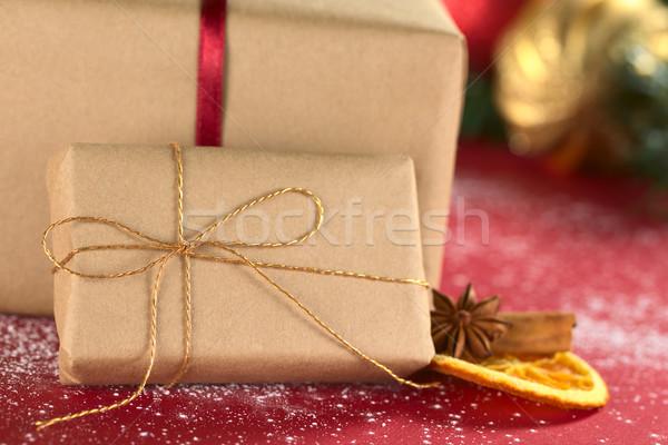 Foto d'archivio: Natale · presenta · messa · a · fuoco · selettiva · focus · mezzo
