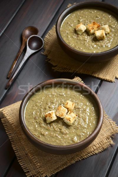 Krém lencse leves rusztikus tálak felső Stock fotó © ildi