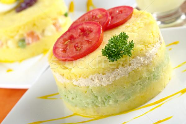 Peruvian Dish Called Causa Stock photo © ildi