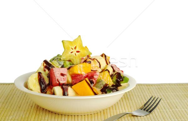 Stock fotó: Gyümölcssaláta · csokoládé · mártás · ki · trópusi · gyümölcsök