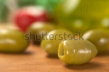 Zielone oliwy oliwy powrót płytki dziedzinie Zdjęcia stock © ildi