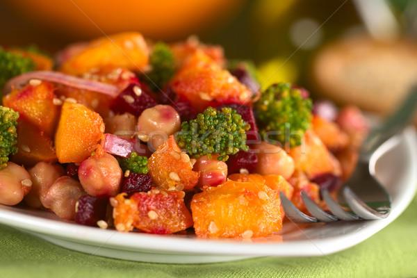 Pumpkin, Beetroot, Broccoli and Chickpea Salad Stock photo © ildi