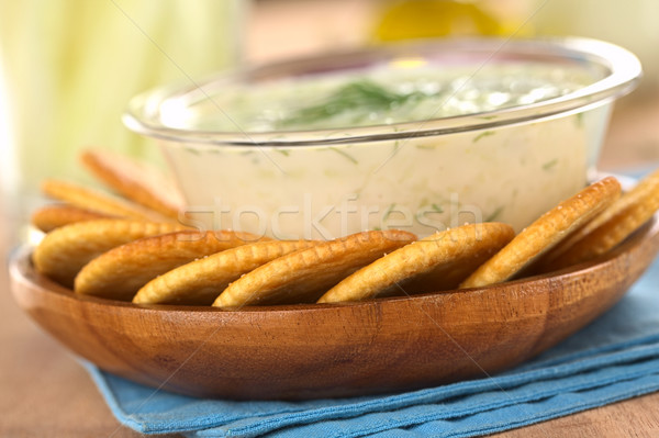 Crackers with Tzatziki Stock photo © ildi
