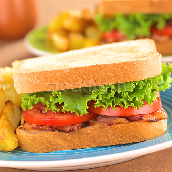Stockfoto: Blt · sandwich · vers · eigengemaakt · spek